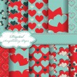 Set of Valentines day vector paper for scrapbook — Stock vektor