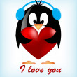 Vector Valentines day penguins — Stock Vector