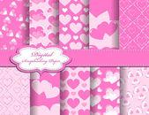 Set of Valentines day vector paper for scrapbook — Stock Vector