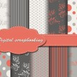 Set of vector flower paper for scrapbook — Stockvectorbeeld