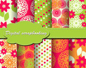 Set of vector flower paper for scrapbook — Stock Vector