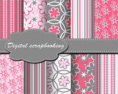 Conjunto de papel de flor de vetor para scrapbook — Vetor de Stock