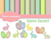 Set of Easter vector paper and clip art for scrapbook — Stock Vector