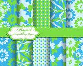 Conjunto de flor e borboleta vector papel para scrapbook — Vetor de Stock