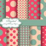 Set of polka dot vector paper for scrapbook — Stock Vector