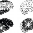 Stock Vector: Set Of Four One Color Electronic Brain Side View.