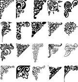 Conjunto de veintiún esquinas de color. elementos de diseño. — Vector de stock