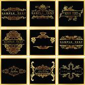 Decorative Ornate Golden Vector Quad Frames — Stock Vector