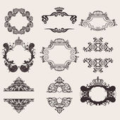 Set Of Nine Ornate Banner Quad — Stock Vector