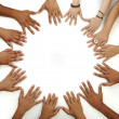Many hands on white background - Stock Photo
