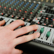 Stock Photo: Closeup audio mixer with buttons