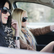 Two girls in a car — Stock Photo