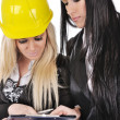 Two architect girls writing — Stock Photo #10418833