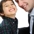 Portrait of happy father and son — Stockfoto