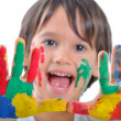 Happy kid with paints on hands — Stock Photo #10419201