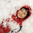 Little boy covered with snow — Stock Photo