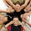 Group of happy children with closed eyes — Stock Photo #10419283