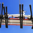 Skiers on the ski lift — Stock Photo