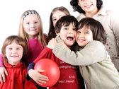 Groupe de joyeux enfants ludiques en studio — Photo