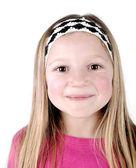 Jolie blonde petite fille souriante — Photo