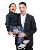 快乐的父亲和儿子开心的时间 — 图库照片