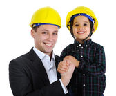 Father and son as engineers — Stock Photo