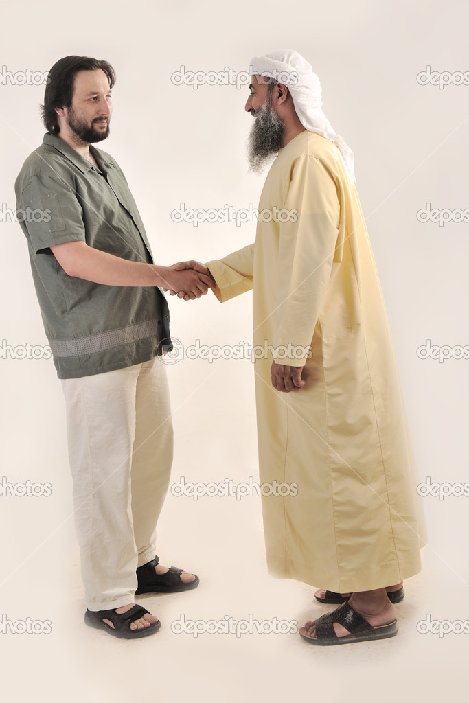 Arabic Muslim businessman person shaking hands — Stock Photo #10419118