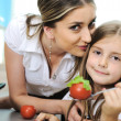 Mother and daughter cooking, love and work together — Stock Photo #10420620