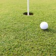 Golf ball at hole on grass field — Stockfoto