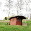 A barn cabine on green field - Stock Photo