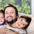 Father son and daughter at home — Stock Photo #10421426