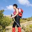 Royalty-Free Stock Photo: Nordic Walking in Autumn mountains, hiking woman