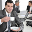 Businessmin business ambience drinking cofee — Stok Fotoğraf #10421623
