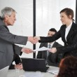 Stock Photo: Happy business leaders handshaking at meeting