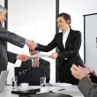 Stock Photo: Agreement signed, hand shaking