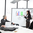 Business sitting on presentation at office. Businesswoman presenting on whiteboard. — Stok fotoğraf