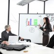 Business sitting on presentation at office. Businesswoman presenting on whiteboard. — Стоковое фото