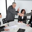 Two senior business shaking hands at meeting — Stock Photo