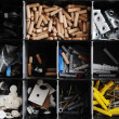 Toolbox with arranged screws and small pieces equipment - Stock Photo
