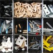 Toolbox with arranged screws - Stock Photo