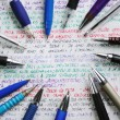 Pens and handwriting colorful notebook — Foto Stock