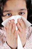 Little sick girl having flu — Stock Photo