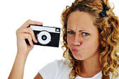 Cute girl with camera isolated — Stock Photo