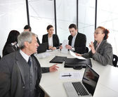 Senior businessman and businesswoman at a meeting. Open discussion between colleagues — Stock Photo