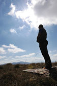 Muslim man praying in nature, silhouette — Stock Photo