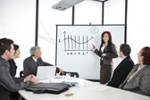 Businesswoman drawing a diagram during the presentation at office — Stock Photo