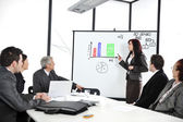 Business sitting on presentation at office. Businesswoman presenting on whiteboard. — Stock Photo
