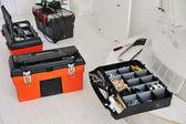 Werkset met instrumenten en apparatuur voor werk — Stockfoto