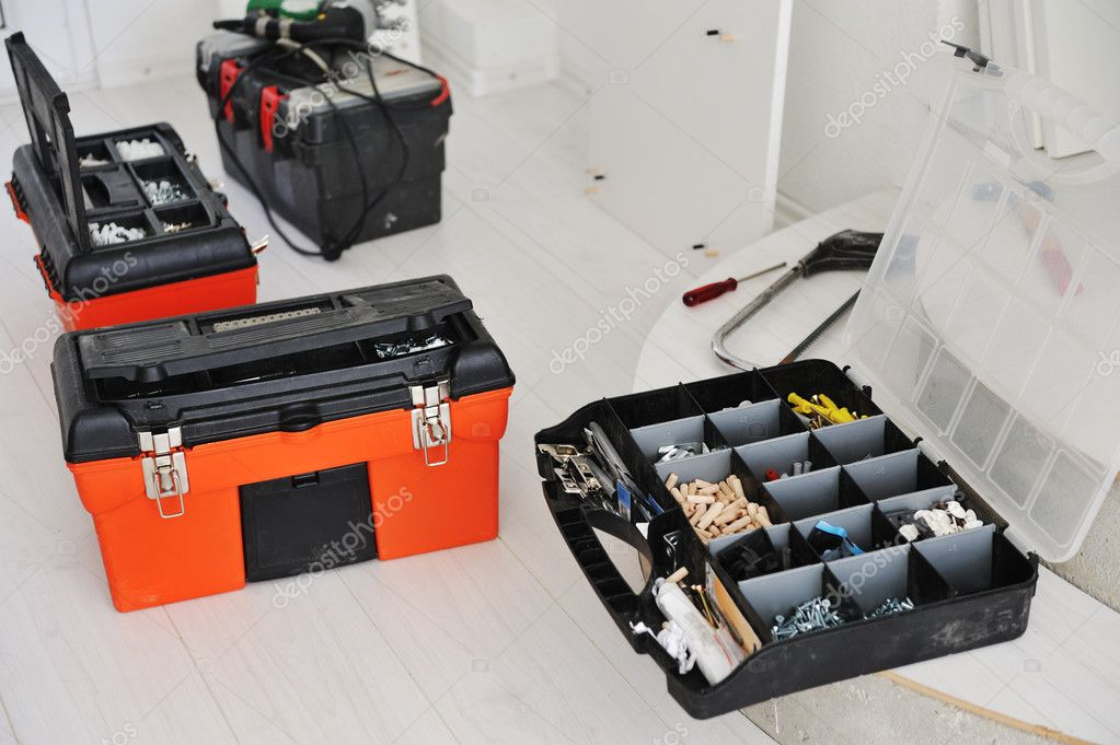 Toolbox with instruments and equipment for work — Stock Photo #10422256