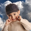 Boy with denim cap — Stock Photo